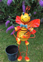 Metal Orange Dancing Bee Planter Ornament with Windmill Feature